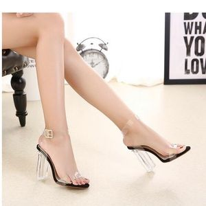 Shoes - Clear Ankle Strap High Heels